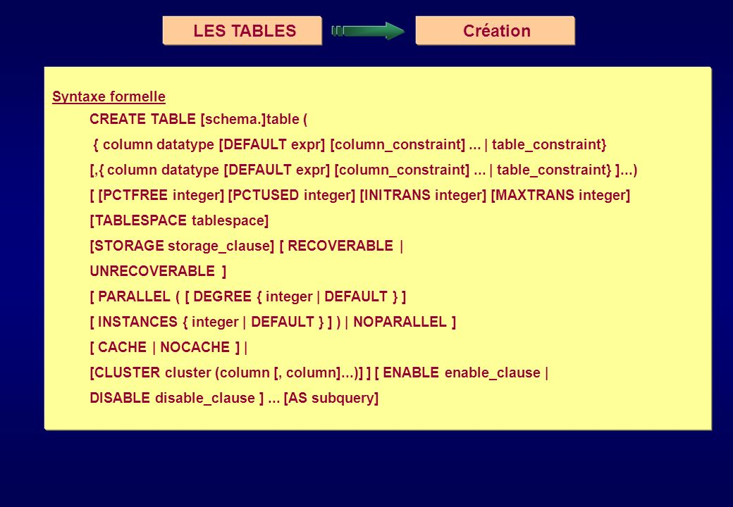 LES TABLES Création Syntaxe formelle CREATE TABLE [schema.]table (